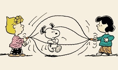 Snoopy jumps rope while Lucy and Sally turn the rope. Does sighing count as exercise?