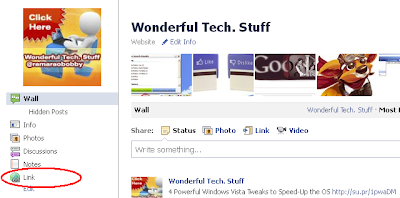 new link in facebook fan page menu