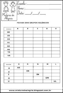 Orientação introdução de sílabas