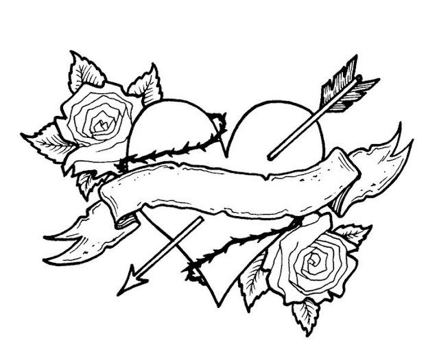 Сердце со стрелой и розами раскраски Heart with arrow and rose coloring