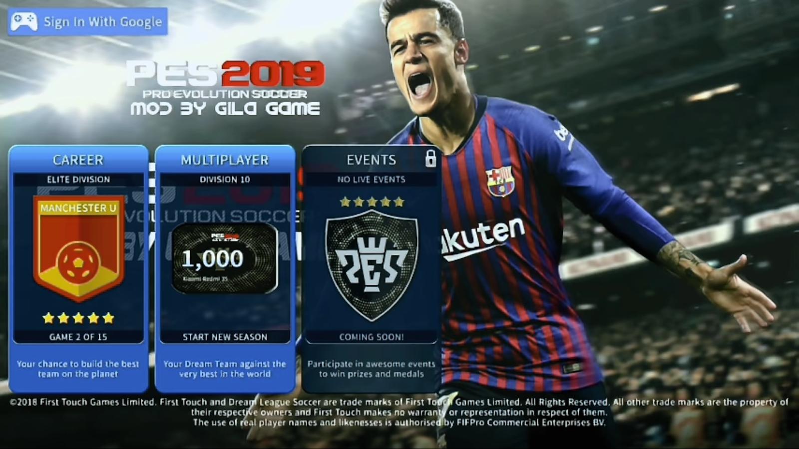 Download Game DLS 2019 mod PES 2019 Mobile Lite Apk + Data +