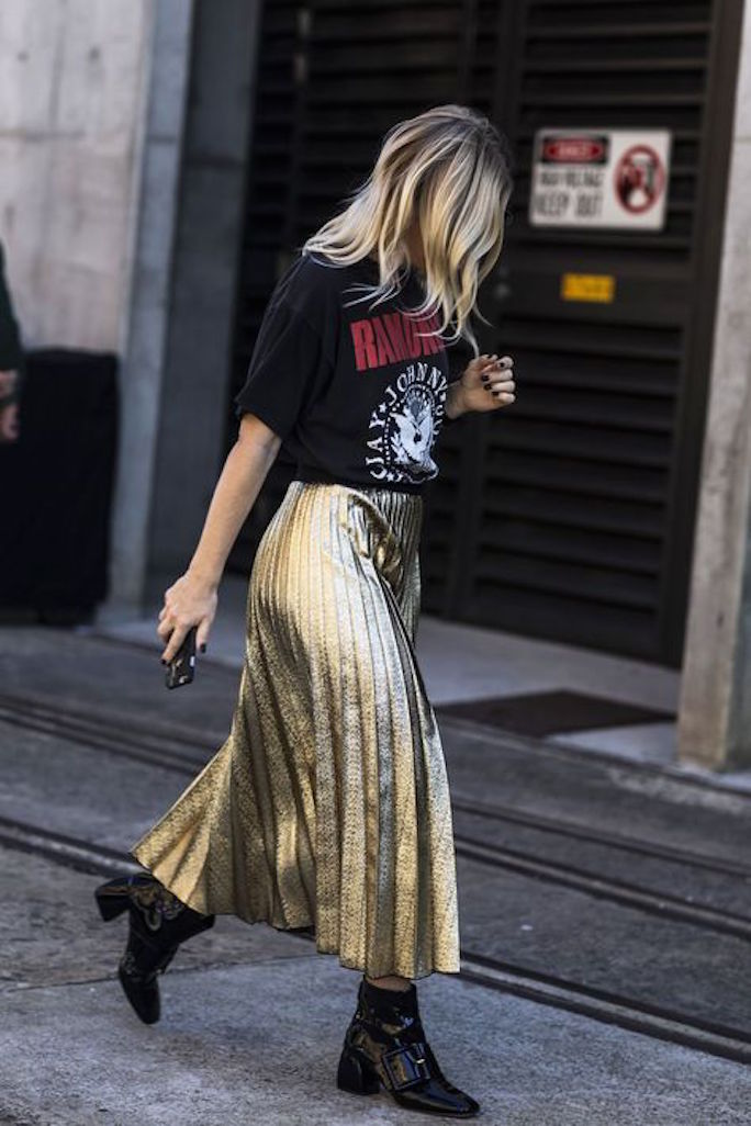 Metallic-Pleated-Maxi-Skirt-Concert-Tee-Street-Style