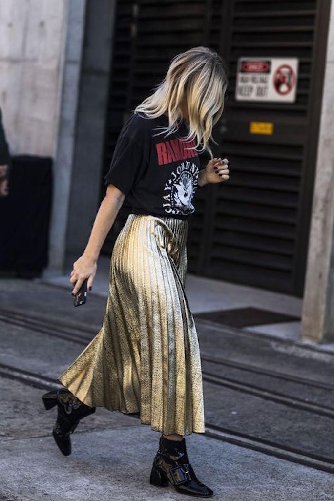 Metallic-Pleated-Maxi-Skirt-Concert-Tee-Street-Style