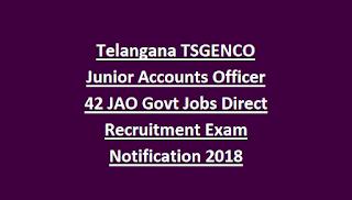 Telangana TSGENCO Junior Accounts Officer 42 JAO Govt Jobs Direct Recruitment Exam Notification 2018