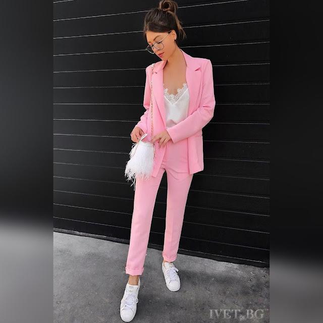 Γυναικείο ρόζ σύνολο FILIZA - Σακάκι και παντελόνι