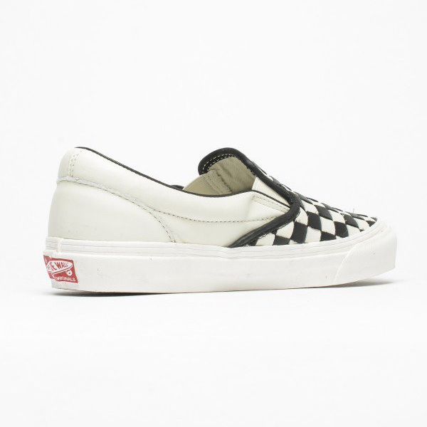 58e8f8bc688a19 Vans Vault OG Classic Slip-On LX (Woven Leather) 50th Checkerboard Black.  VN000UDFILX