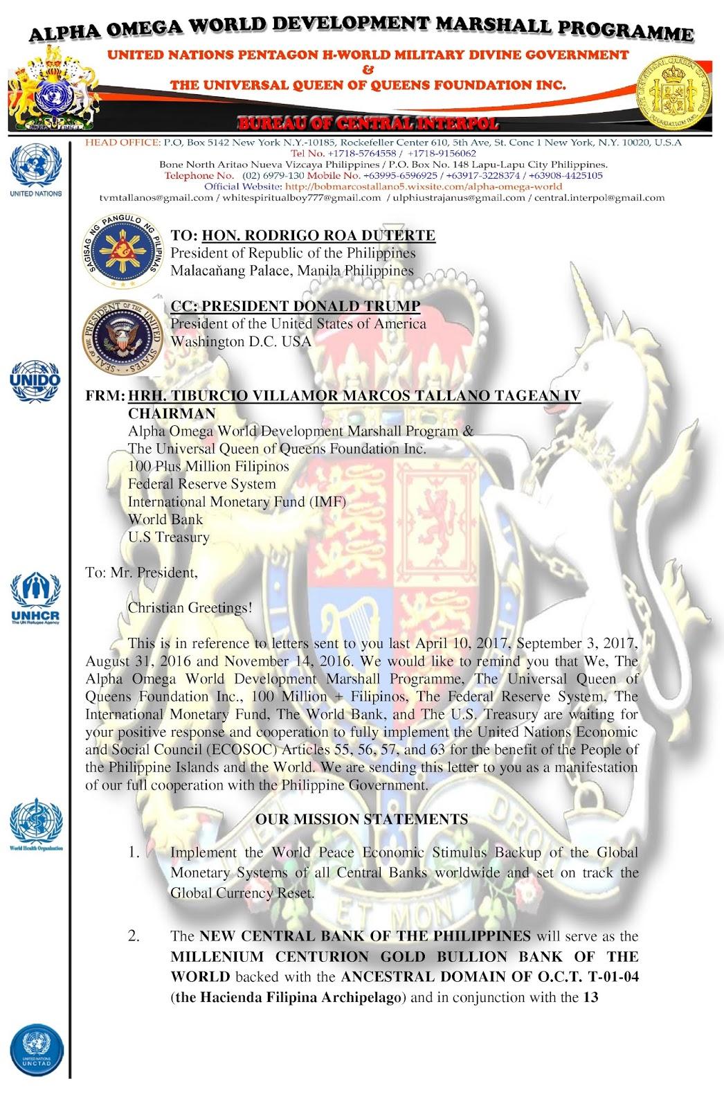 Hm King Tvm Lsm 666 Urgent Letter To President Rodrigo Roa Duterte