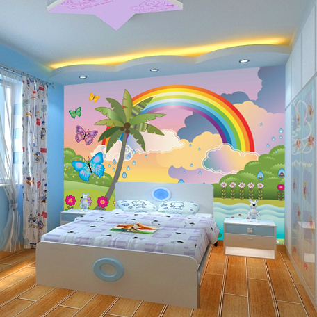 Rainbow wall mural New Large murals cartoon rainbow murals for walls children kids room murals bedrooms cartoon