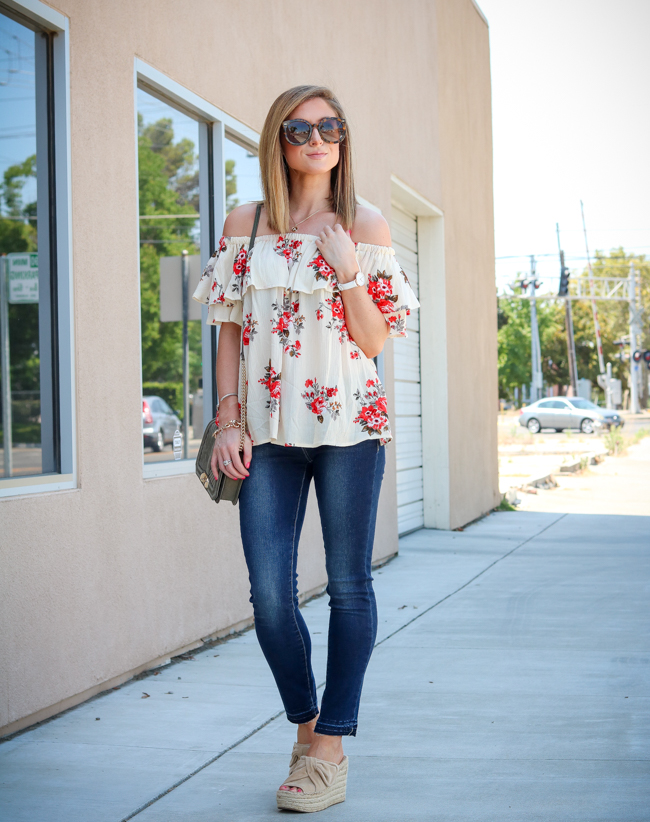 She Is Boutique Floral Off the Shoulder Top