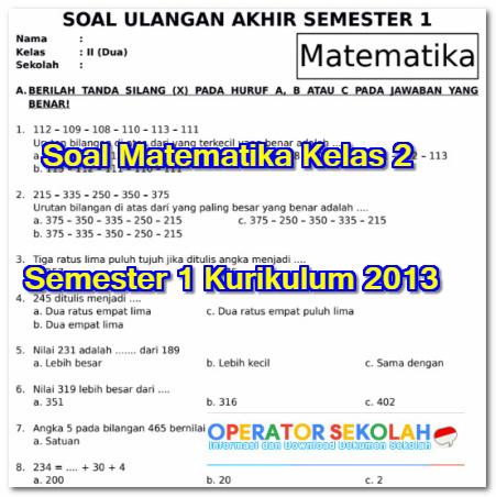 Soal Matematika Kelas 2 Semester 1 Kurikulum 2013