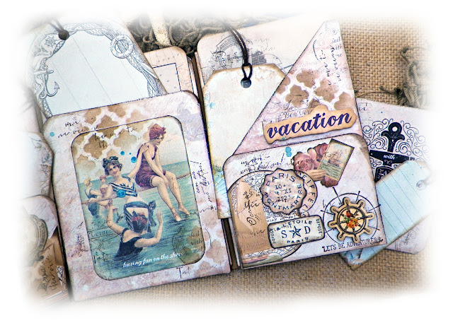 Sea Breeze Mini Album by Lisa Novogrodski for Scraps of Elegance using the August Kit By the Sea
