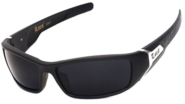 LOCS Biker Sports Gangsta Mens Designer Sunglasses Shiny Black LC39