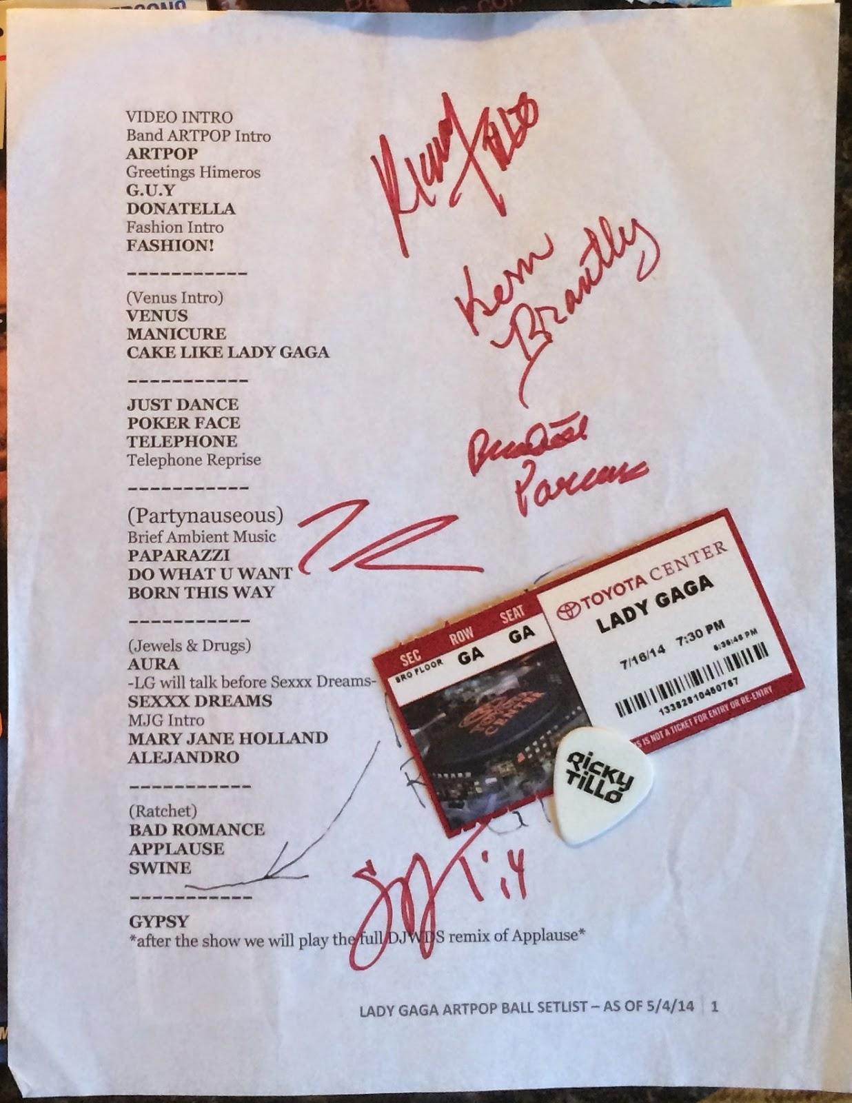 The coloring book tour setlist - Signed Artrave Setlist