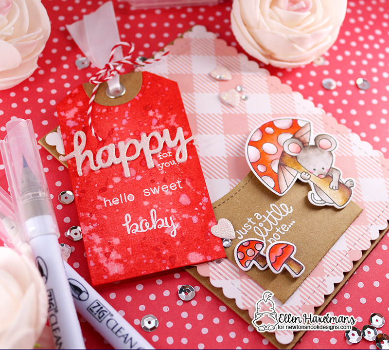 Just a Little Note Baby Card by Ellen Haxelmans | Garden Mice Stamp Set and Fancy Edges Tag Die Set by Newton's Nook Designs #newtonsnook #handmade