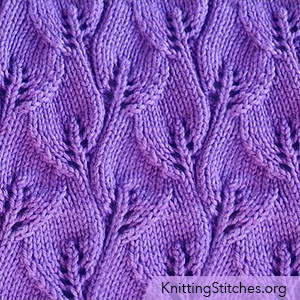 Overlapping Leaves stitch in the round. Easy, fun and nice pattern!  - KnittingStitches.org