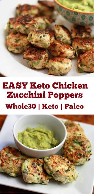 EASY Keto Chicken Zucchini Poppers #chickenrecipe #paleo #healthydinner #ketodinner #glutenfree #whole30recipe #easydinner #zucchini #poppers