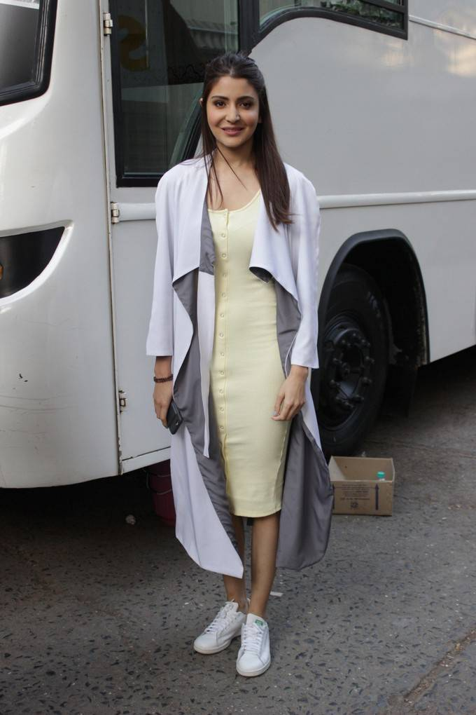 Anushka Sharma Stills In White Dress At New Film Promotion