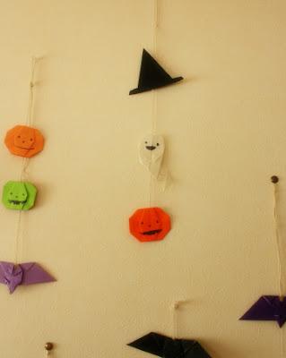 折り紙ハロウィン壁飾り