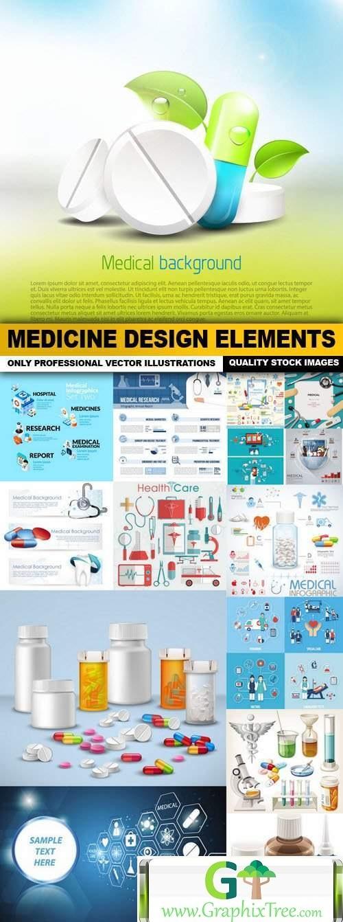 Medicine Design Elements - 15 Vector