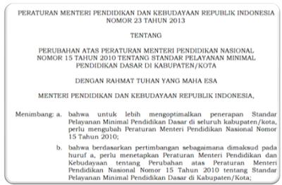 gambar Permendikbud Nomor 23 Tahun 2013 Tentang Standar Pelayanan Minimal