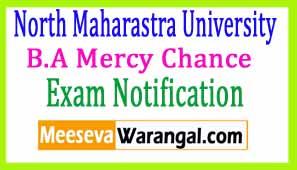 North Maharastra University B.A Mercy Chance Apr-May 2017 Exam Notificaiton