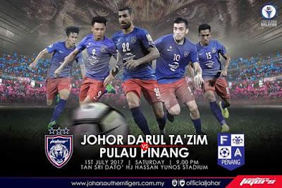 Live Streaming JDT FC vs Pulau Pinang Liga Super 1 Julai 2017