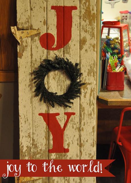 Joy Sign with wreath Christmas sign