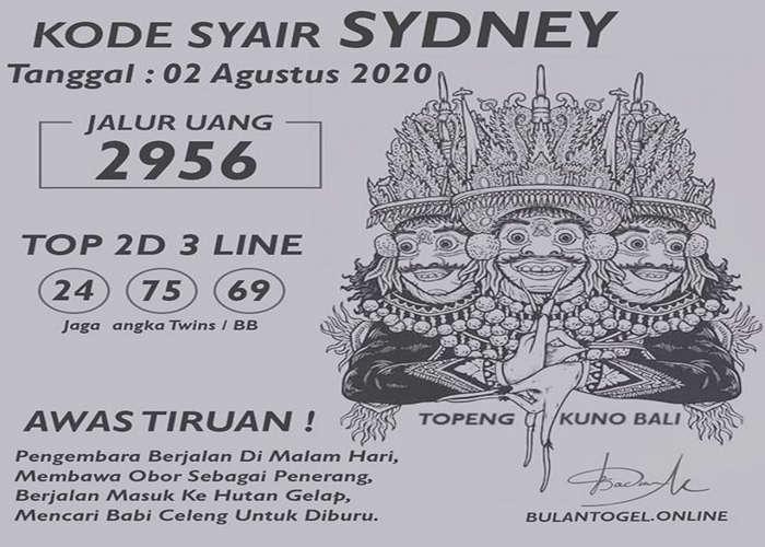 Kode syair Sydney Minggu 2 Agustus 2020 72