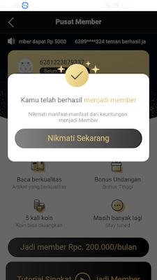 Berhasi jadi member di aplikasi news cat