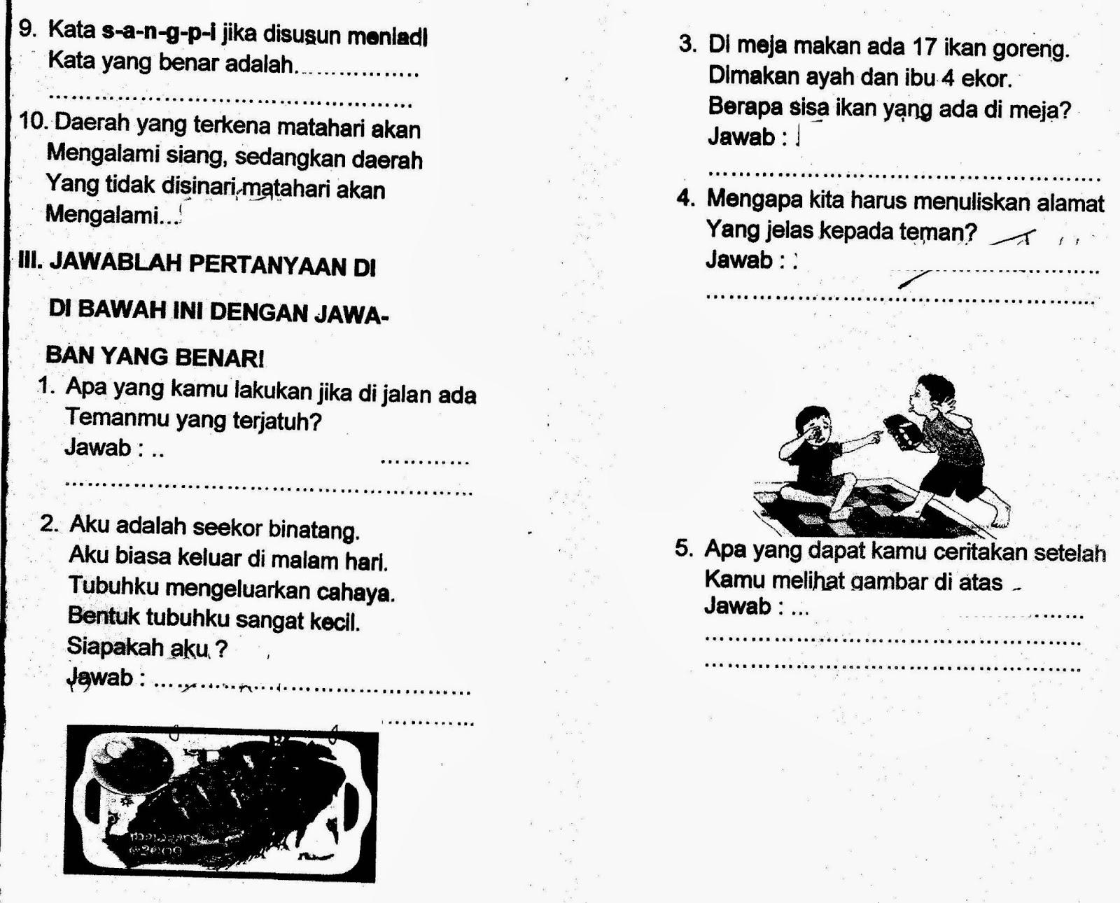 Soal Tematik Kelas 1 Dan Kunci Jawaban