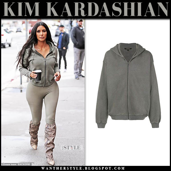 Kim Kardashian in grey zip yeezy hoodie and leggings street style january 7
