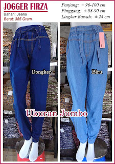 Celana jogger bahan jeans ukuran jumbo