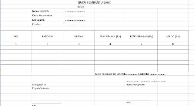 Format Buku Kas Pembantu Bank