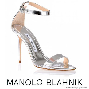 Princess Charlene wore Manolo Blahnik silver leather sandal