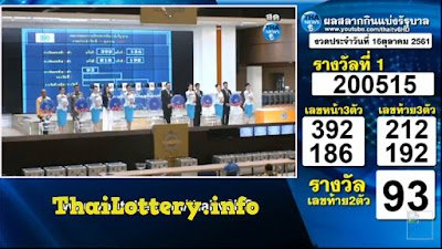 Thailand Lottery Result 16 October 2018 Live Streaming Online