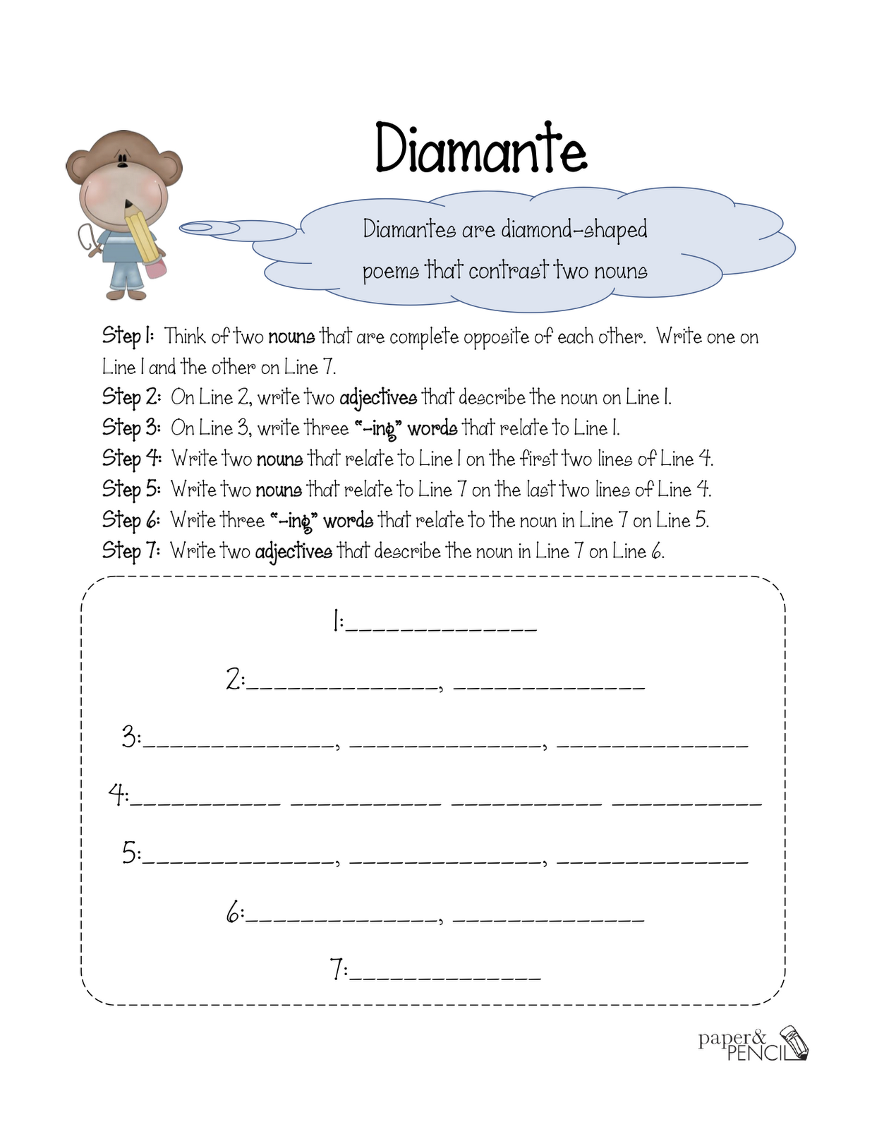 Poetry 4th grade for Poetry templates for kids
