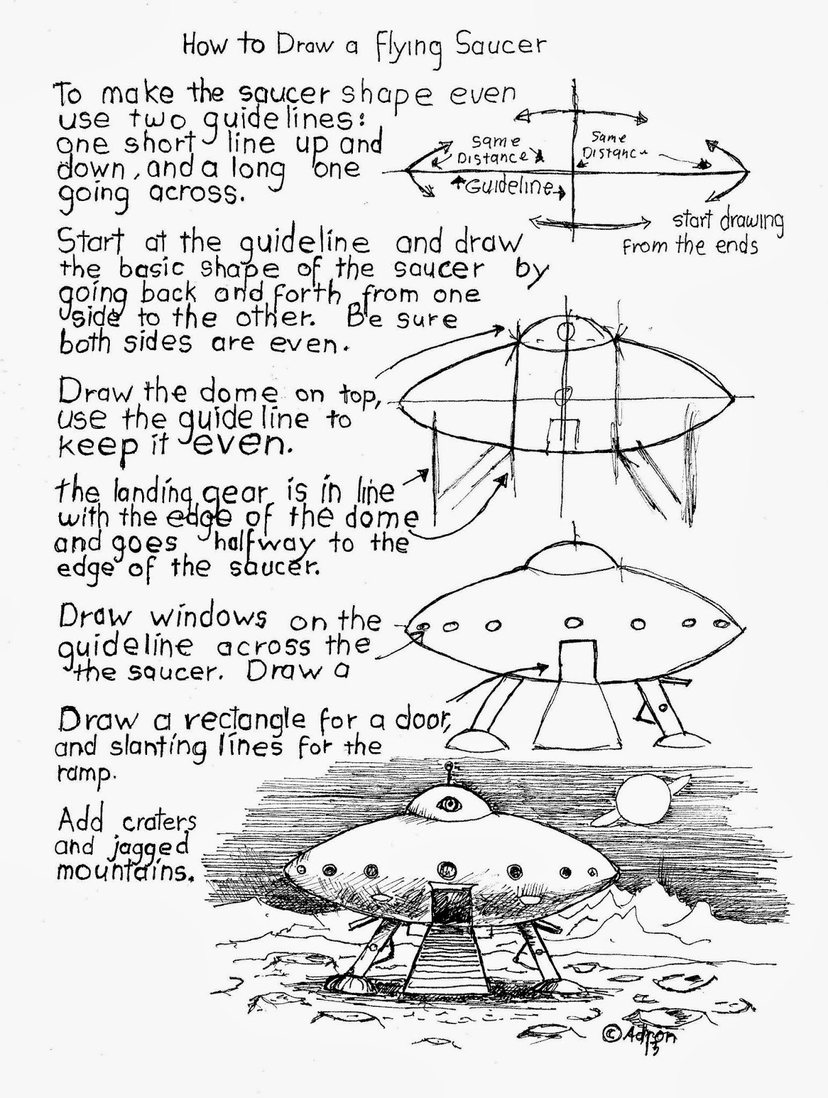 How To Draw Worksheets For The Young Artist How To Draw A Flying Saucer Worksheet Free