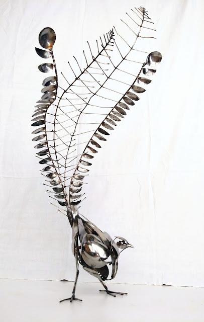 Ed Hill Metal Art - Lyrebird - Bird - Kitchen utensils and cutlery