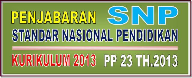 PENJABARAN STANDAR NASIONAL PENDIDIKAN KURIKULUM 2013 PP NOMOR 32 TAHUN 2013