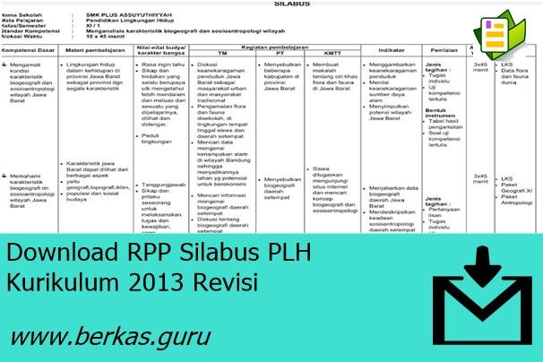 Download RPP Silabus PLH Kurikulum 2013 Revisi