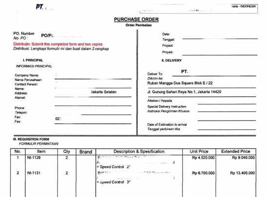 Contoh Surat Penting Contoh Po Purchase Order Dan Cara