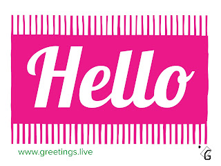 Hello greetings image background white and Text background pink text in white colour brand logo of greetings live and website name www.greetings.live