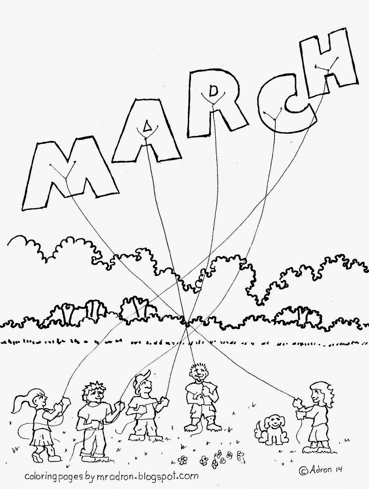 An illustration of the Month of March to print and color.