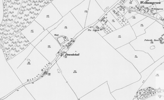 Map: The moat in the centre of the Ordnance Survey 25-inch map Published: 1898 Hertfordshire XXXV.15 (Bishops Hatfield; North Mimms.)  Image courtesy of the National Library of Scotland  Released under Creative Commons BY-NC-SA 4.0