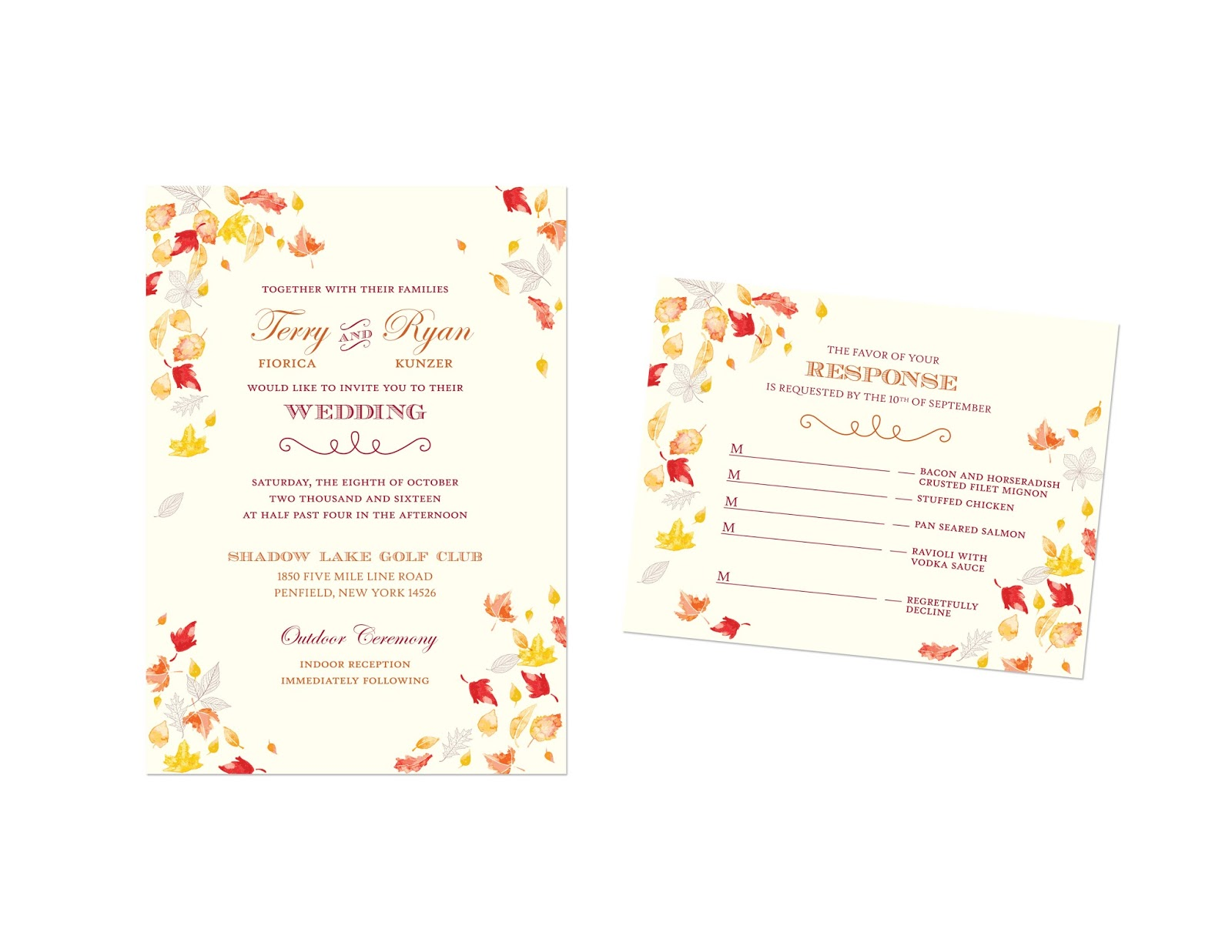 And Autumn Leaves Which Printed Beautifully On Ivory Paper I Also Designed Their Ceremony Program Place Cards Custom Chocolate Bar Wrapper: Chocolate Ivory Wedding Invitation At Reisefeber.org