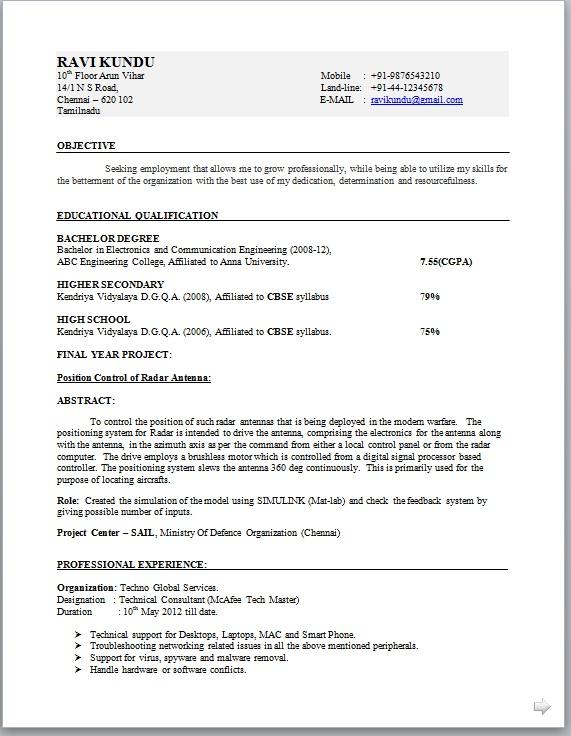 non technical resume format Kenicandlecomfortzonecom