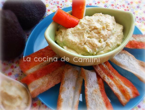 Dip de langostinos y aguacate con chips de surimi (La cocina de Camilni)
