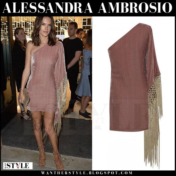 Alessandra Ambrosio in mauve metallic one shoulder vatanika mini dress and schutz sandals what she wore
