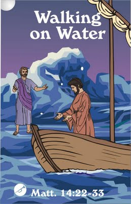 Miracle of Jesus- walking on water to help peter in the sea storm
