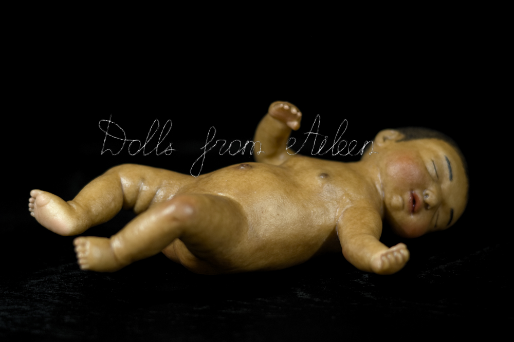 ooak anatomically correct sleeping baby girl doll, view from side